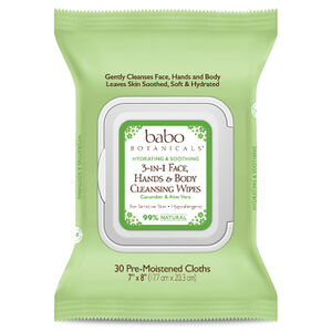 Babo Botanicals - 3-in-1 Hydrating Face, Hand, Body Wipes - Cucumber & Aloe Vera