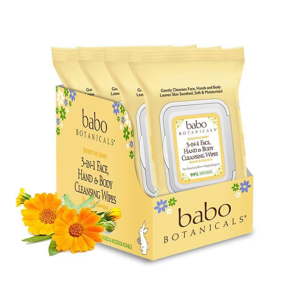 Babo Botanicals - 3-in-1 Sensitive Baby Face, Hands & Body Wipes - Oatmilk & Calendula