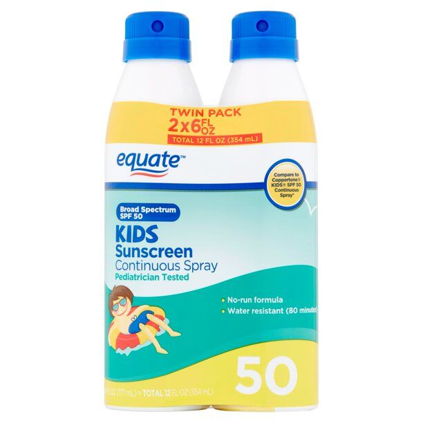 Equate - Kids Broad Spectrum Sunscreen Continuous Spray Twin Pack, SPF 50, , 2 Count