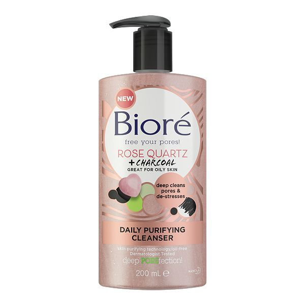 Biore - Bioré Rose Quartz & Charcoal Daily Purifying Face Wash Cleanser for Oily Skin