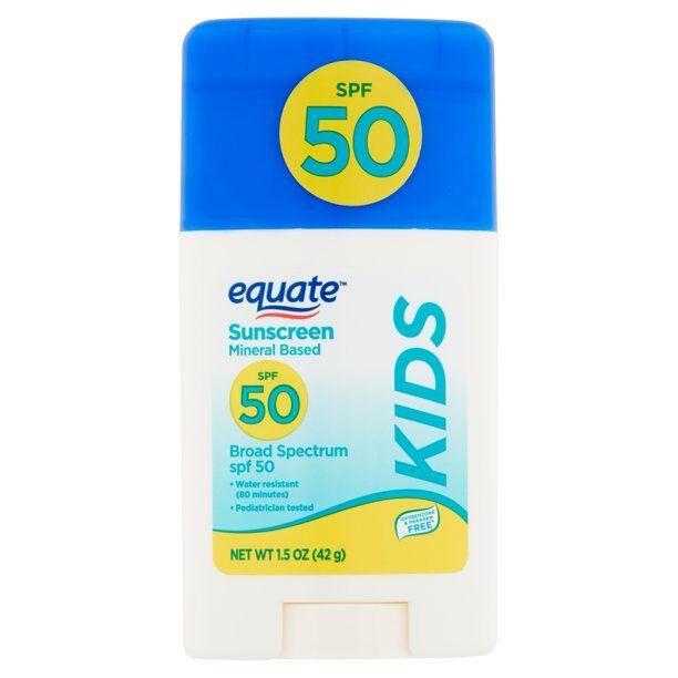 Equate Kids Mineral Based Broad Spectrum Sunscreen Stick, SPF 50,